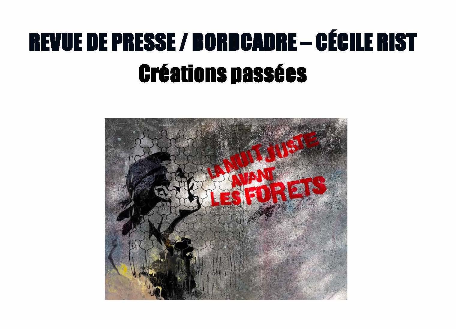 LA NUIT JUSTE AVANT LES FORÊTS - Revue de presse de BordCadre & Cécile Rist_Page_01 copie